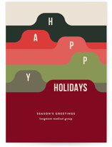 This is a green business holiday card by Shari Margolin called Filed with standard printing on signature in standard.