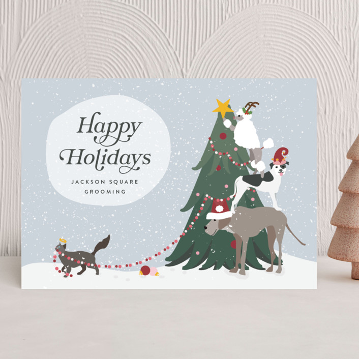 """""""dog deckers"""" - Bohemian Business Holiday Cards in Flurry by Kamala Nahas."""