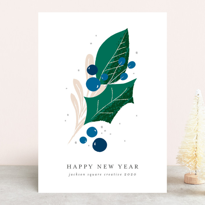 """Seasonal Sprig"" - Business Holiday Cards in Juniper Berry by Lehan Veenker."