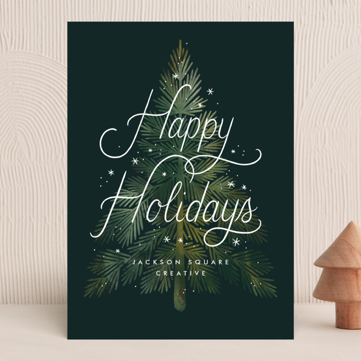 """""""Wintery Tree"""" - Business Holiday Cards in Pine by Paper Raven Co.."""