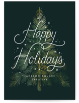 This is a green business holiday card by Paper Raven Co. called Wintery Tree with standard printing on signature in standard.
