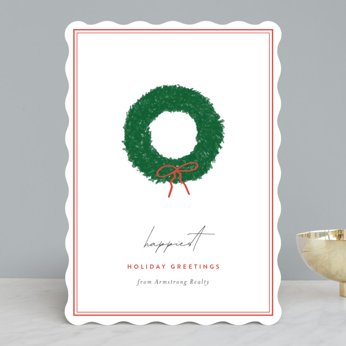 """""""Simple Wreath"""" - Business Holiday Cards in Cranberry by Sara Hicks Malone."""