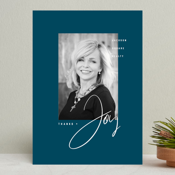 """""""Thanks & Joy"""" - Modern Business Holiday Cards in Midnight by fatfatin."""