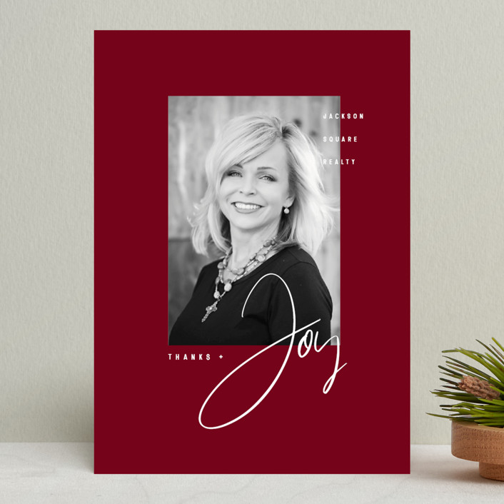 """""""Thanks & Joy"""" - Modern Business Holiday Cards in Cardinal by fatfatin."""