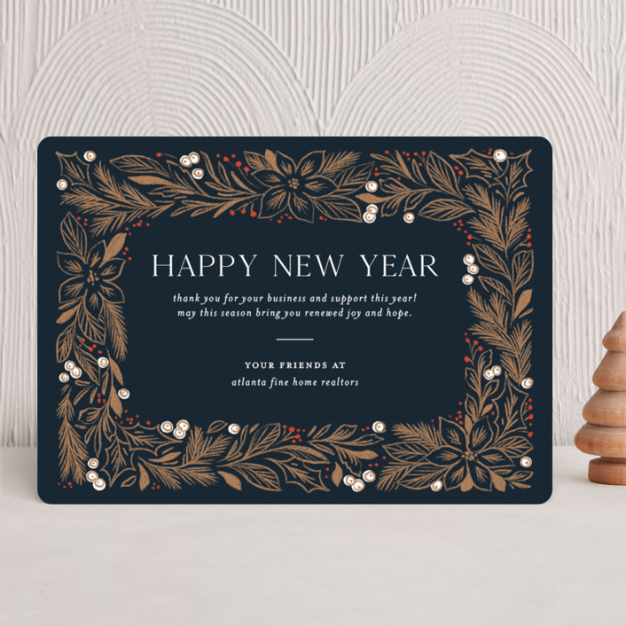 """""""Framed Foliage"""" - Business Holiday Cards in Navy by Paper Raven Co.."""