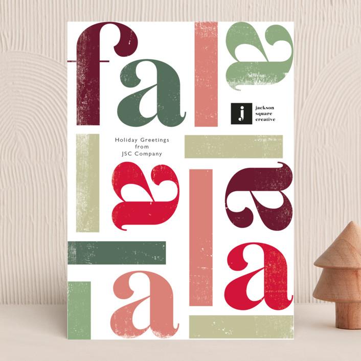"""Fa la la la la"" - Business Holiday Cards in Fruitcake by Caitlin Considine."