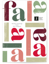 This is a white business holiday card by Caitlin Considine called Fa la la la la with standard printing on signature in standard.