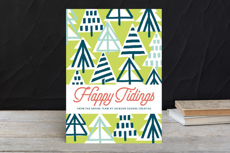Brushstroke Trees Business Holiday Cards