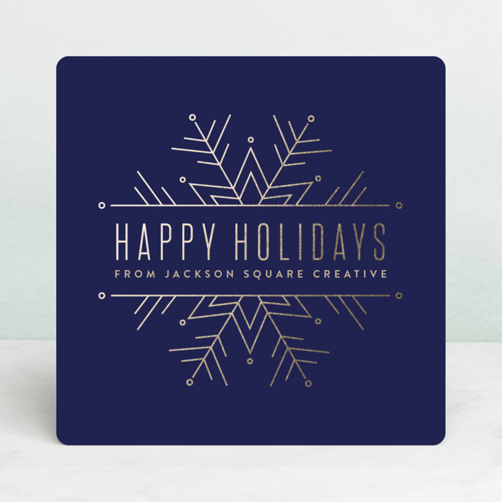 """""""Chic Snowflake"""" - Business Holiday Cards in Navy by Pistols."""