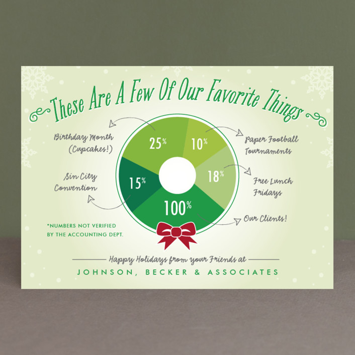 """Favorite Things Wreath"" - Business Holiday Cards in Pear by Beth Schneider."