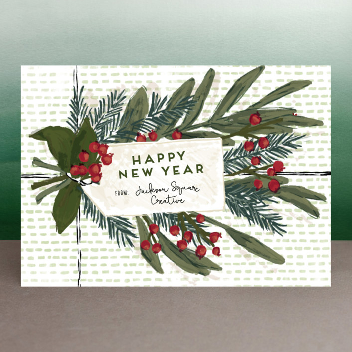 """Wrapped up Greenery"" - Business Holiday Cards in Sage by Shiny Penny Studio."