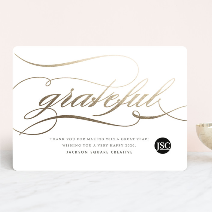 """""""Gratefully Yours"""" - Business Holiday Cards in Gold Leaf by Snow and Ivy."""