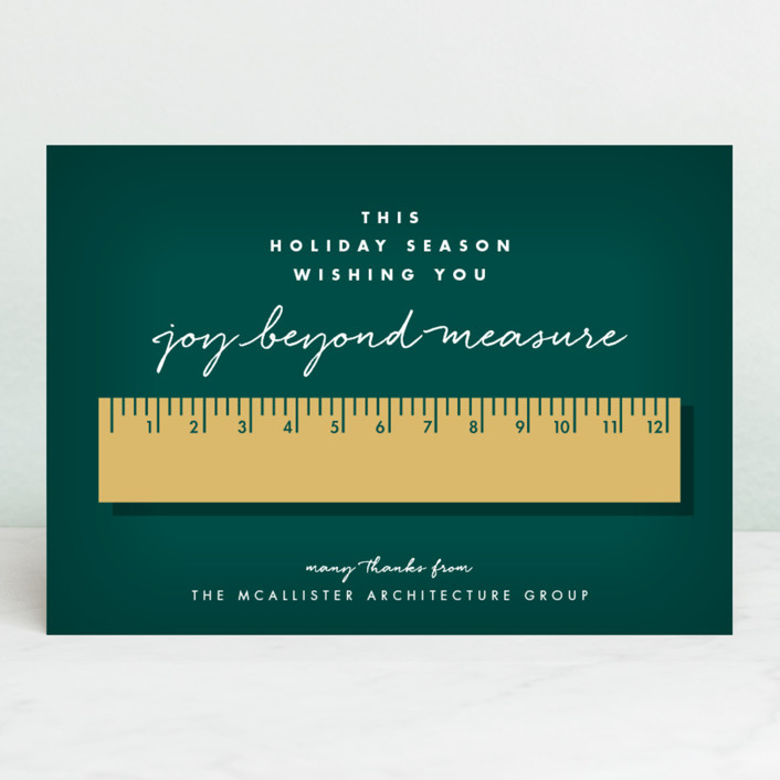 """""""Joy Beyond Measure"""" - Funny Business Holiday Cards in Spruce by Keen Peachy."""