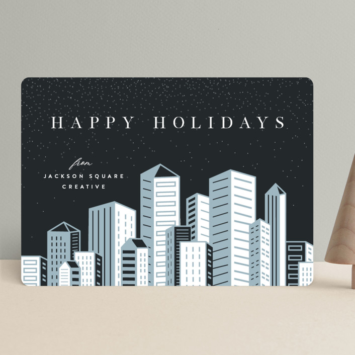 """""""Skyline"""" - Modern Business Holiday Cards in Skyline by Pixel and Hank."""