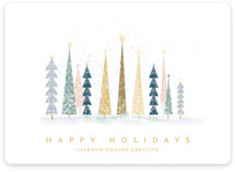 This is a white business holiday card by Laura Mitchell called Happy Holidays with standard printing on signature in standard.