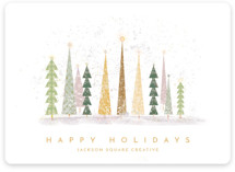 This is a green business holiday card by Laura Mitchell called Happy Holidays with standard printing on signature in standard.