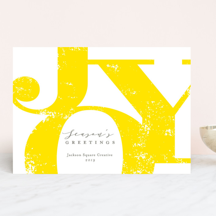 """So Much Joy"" - Business Holiday Cards in Lemon Tart by Michelle Taylor."