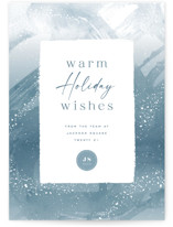 This is a blue business holiday card by Hooray Creative called Winter Brush Strokes with standard printing on signature in standard.