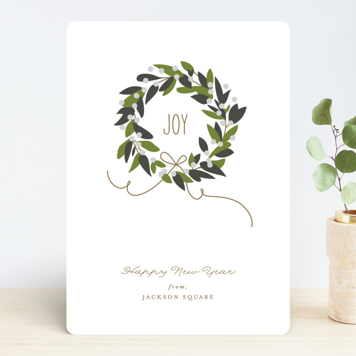 """Magnolia Wreath"" - Business Holiday Cards in Magnolia Green by Jennifer Postorino."