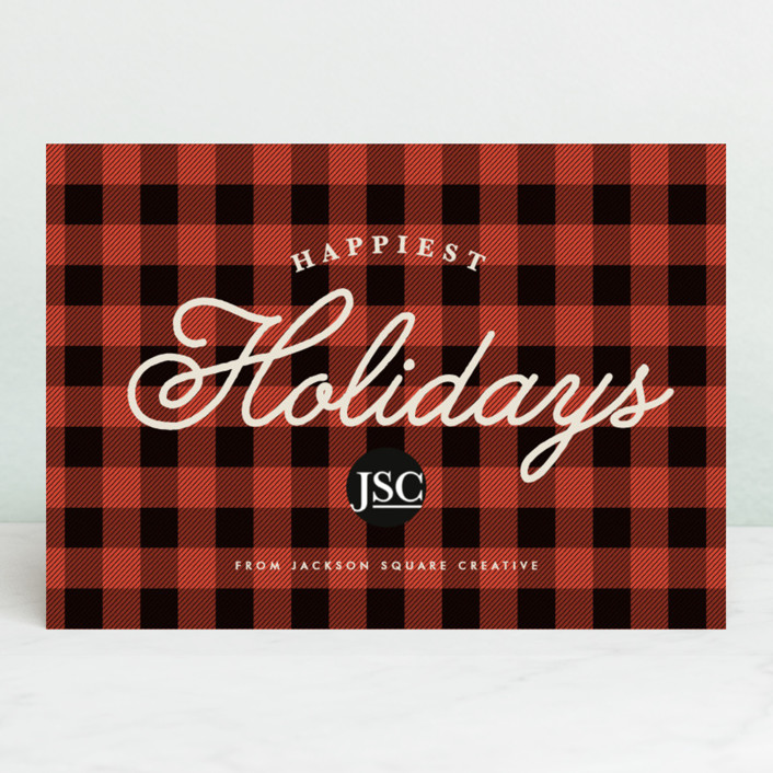 """Classic Buffalo Plaid"" - Business Holiday Cards in Crimson by Karidy Walker."