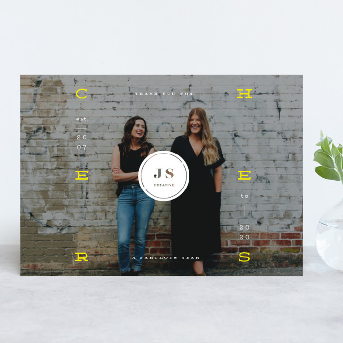 """""""Floating Cheers"""" - Business Holiday Cards in Christmas Star by fatfatin."""