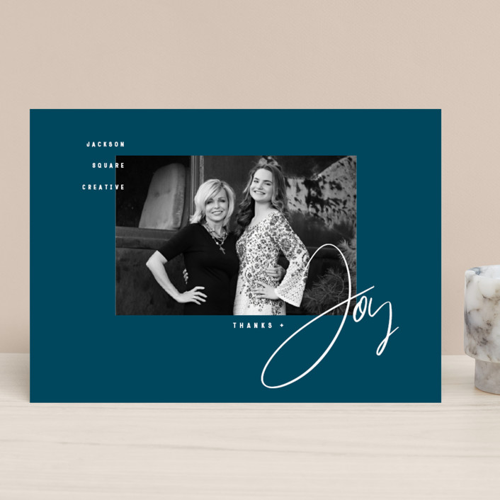 """Thanks & Joy"" - Modern Business Holiday Cards in Midnight by fatfatin."