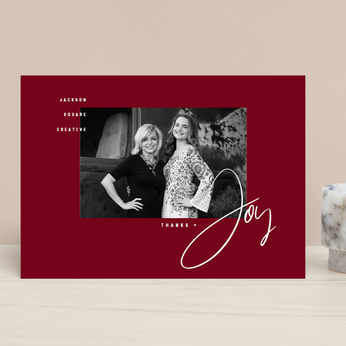 """Thanks & Joy"" - Business Holiday Cards in Cardinal by fatfatin."