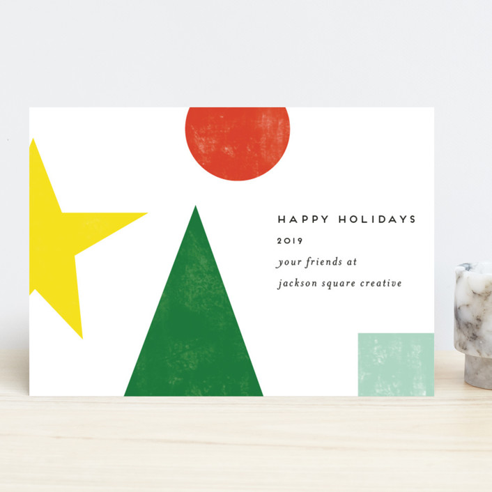 """""""deconstructed christmas tree"""" - Modern Business Holiday Cards in Snow by Morgan Kendall."""