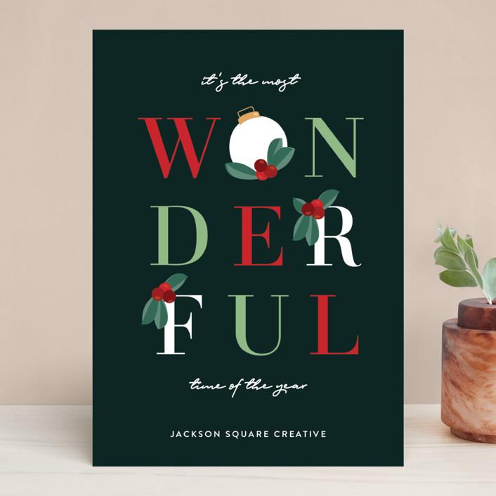 """Wonderful"" - Modern Business Holiday Cards in Fern by Christie Garcia."