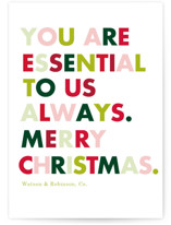 This is a green business holiday card by Baumbirdy called Always Essential with standard printing on signature in standard.