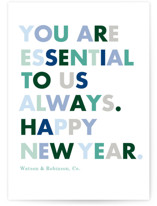 This is a blue business holiday card by Baumbirdy called Always Essential with standard printing on signature in standard.
