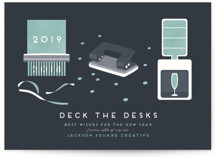 This is a blue business holiday card by Gwen Bedat called Deck the desks with standard printing on signature in standard.