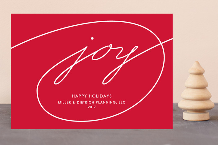 """""""Wrapped in Joy"""" - Business Holiday Cards in Holly Berry by Kim Dietrich Elam."""