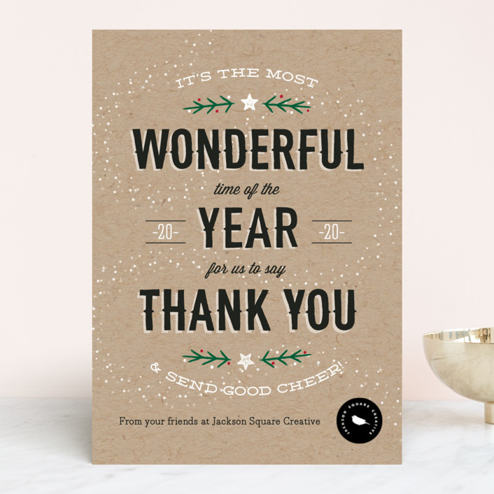 """""""Most Wonderful Time"""" - Bold typographic Business Holiday Cards in Midnight by cadence paige design."""