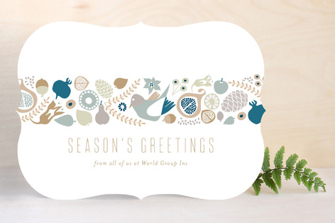 Botanical Holiday Strip Business Holiday Cards