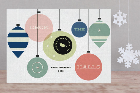 Retro Deck the Halls Business Holiday Cards