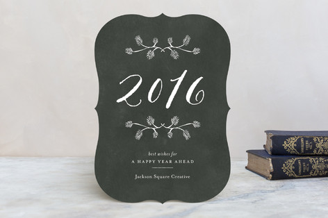 New Year Branches Business Holiday Cards