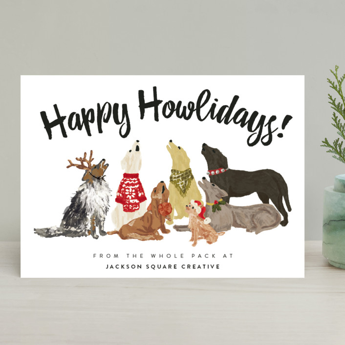 """Howliday Dog Pack"" - Funny Business Holiday Cards in Dalmation Black by Shiny Penny Studio."