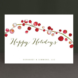 Holly and Berries Business Holiday Cards