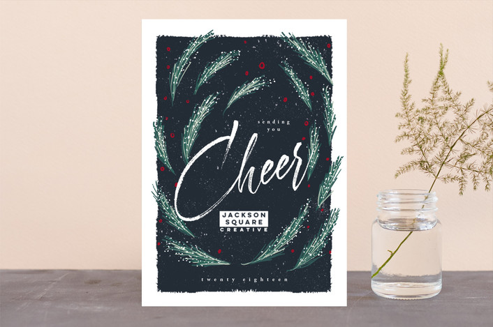 """""""Panettone"""" - Bohemian Business Holiday Cards in Navy by chocomocacino."""