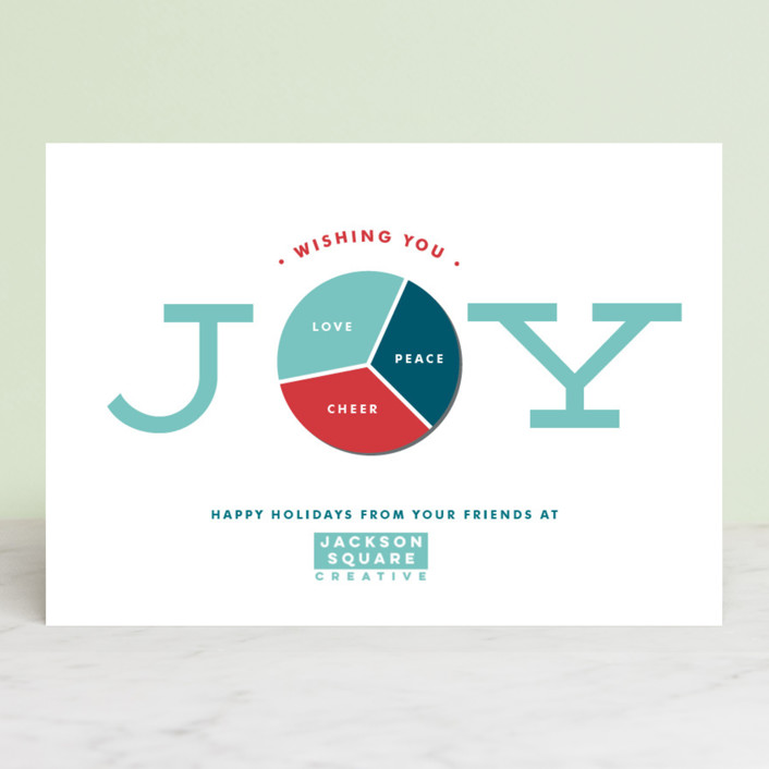 """""""Joy Pie Chart"""" - Business Holiday Cards in Frost by Shirley Lin Schneider."""