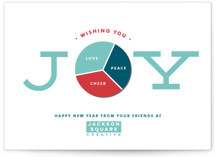 This is a blue business holiday card by Shirley Lin Schneider called Joy Pie Chart with standard printing on signature in standard.