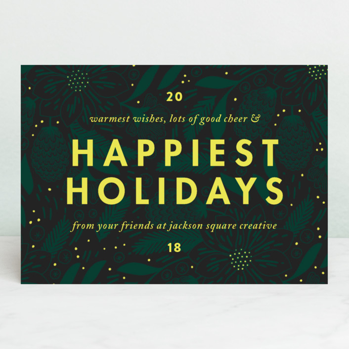 """Color Pop"" - Business Holiday Cards in Pine by Paper Raven Co.."