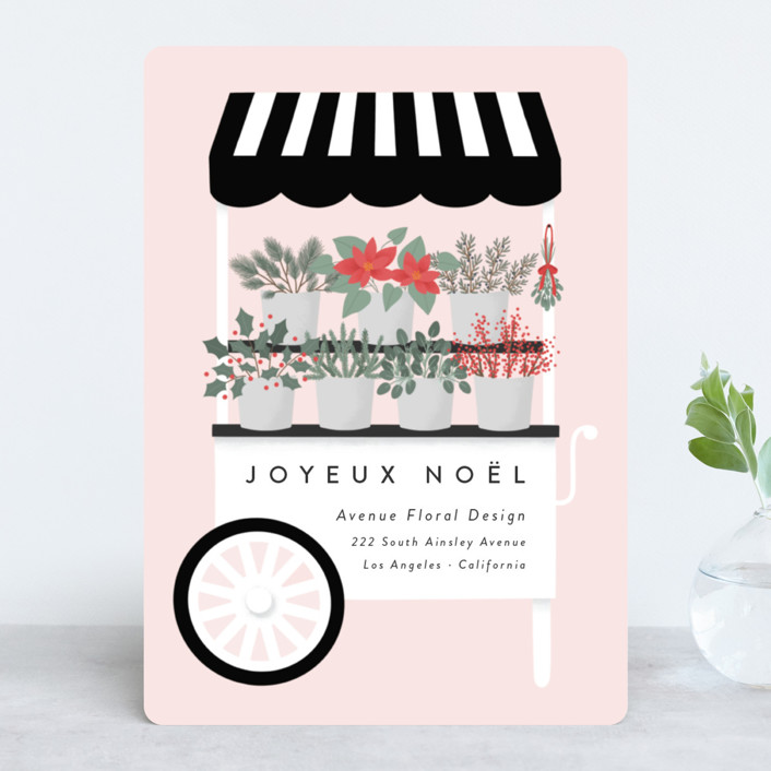 """""""Fleuriste"""" - Modern Business Holiday Cards in Petal by Kacey Kendrick Wagner."""