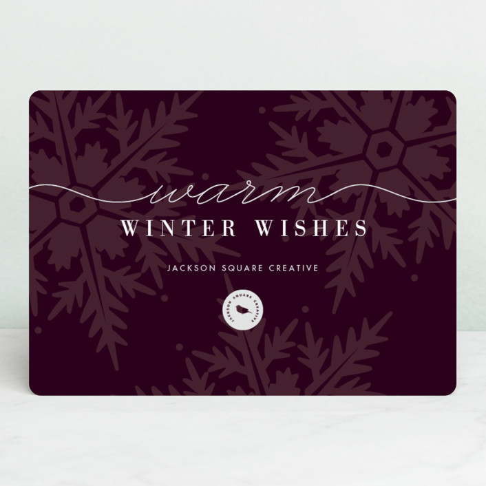 """Winter Snows"" - Business Holiday Cards in Eggplant by Snow and Ivy."