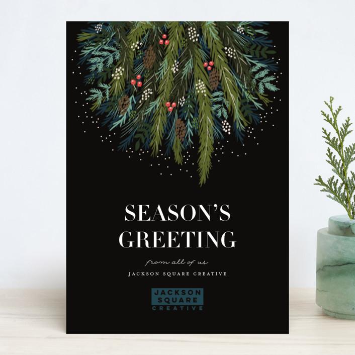 """""""Joy to all of us"""" - Business Holiday Cards in Midnight by iamtanya."""