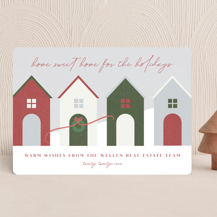 """""""Home Sweet Home"""" - Vintage Business Holiday Cards in Festive by Erin German."""