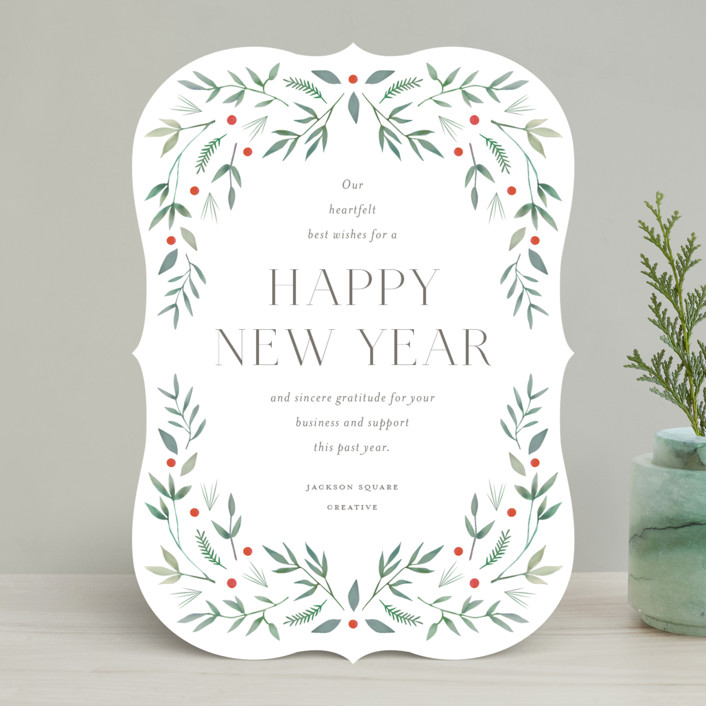 """Holiday Greenery"" - Business Holiday Cards in Mint by Katherine Moynagh."