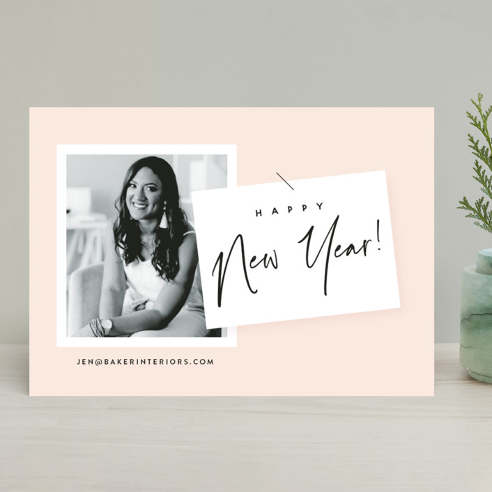 """""""A BUSINESS CARD"""" - Modern Business Holiday Cards in Blush by Susan Brown."""