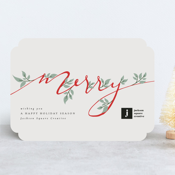 """""""Merry Branches"""" - Business Holiday Cards in Berry by Kann Orasie."""